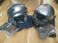 2 x B-Square flip front motorcycle helmets