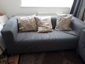 2 Grey Fabric 3 seater Sofas