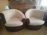 2x Faux Suede Fabric Armchairs with leather sides and back