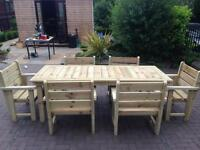 Garden furniture table and six chairs