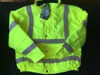 Portwest Hi-Vis Bomber Jacket Men's Work Wear Waterproof Padded Jacket