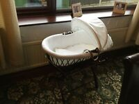 Izziwotnot Brown wicker Moses basket and stand