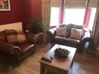 Tan Leather 2 seater sofa and armchair **Excellent Condition**