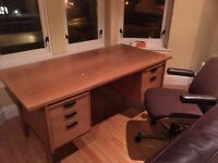 Large retro teak faced desk and chair