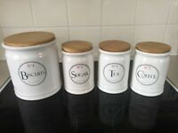 kitchen storage canisters jars set tea sugar coffee & biscuits