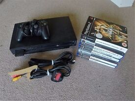 Sony PS2 (PlayStation 2) + Memory Card + Controller + Guitars