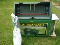 Unused garden lawn fertiliser spreader