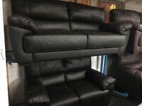 NEW/Ex Display Reid Abella Black Leather 3 Seater Sofa + 2 Seater Sofa