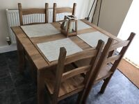 Solid Natural Waxed table and 4 chairs