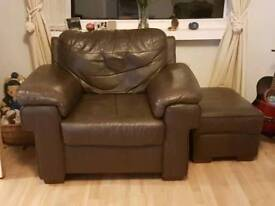Brown Leather Armchair and Foot Stool
