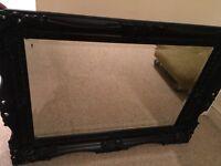 Large black ornate Rococo / Baroque decorative mirror