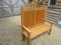 TALL PEW / SETTLE ( 1 of 4 ) Delivery possible. Also : OLD PINE & OAK CHURCH PEWS & MONKS BENCH