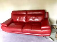 Harveys Genoa 3 Seater Sofa In Red/ Maroon - Set Of 2 Sofas With Matching Pouffe