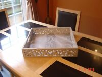 Retro / Shabby Chic Chalk Painted Carved Wooden Serving Tray. Can Deliver.