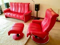 AS NEW! - Ekornes Stressless Reclining 3 seater Sofa and Matching Recliner with Footstool - STUNNING