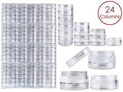 144 Pieces 10G/10ML Acrylic Stackable Clear Round Container Jar with Screw Cap