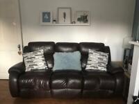 Dark chocolate leather reclining sofa