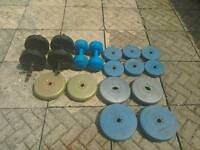 Selection of weights and dumbbells