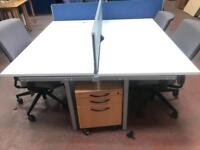 1600x 800mm Double White Work Bench with Divider