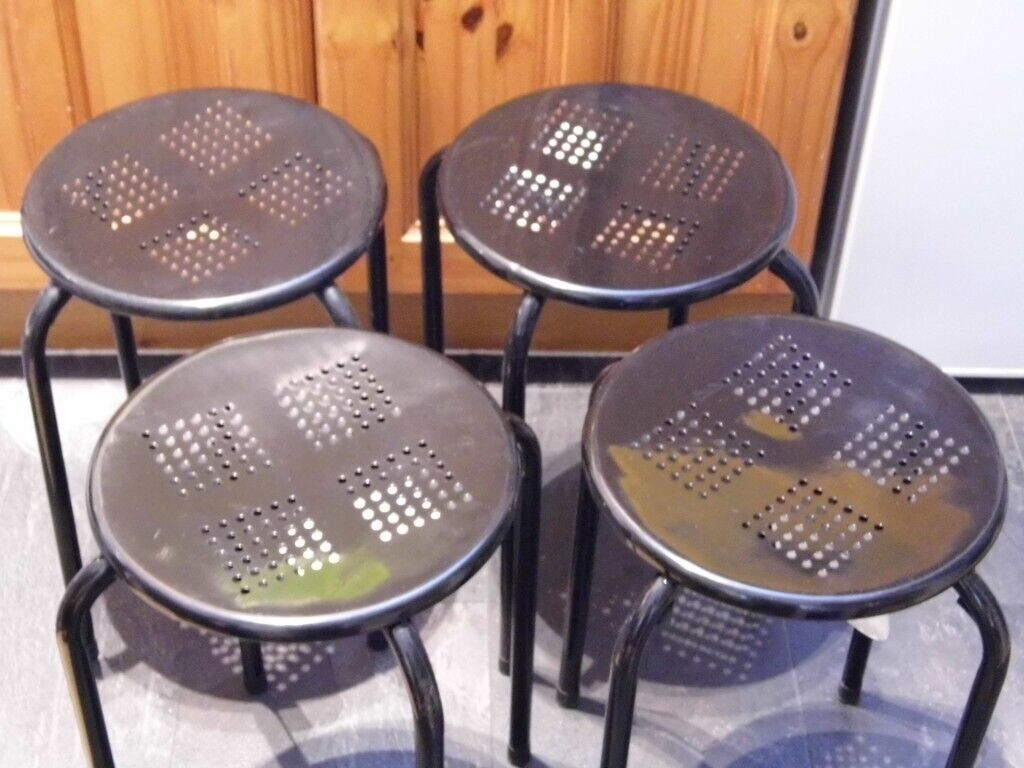 Remarkable Black Metal Frame Stacking Stools Set Of 4 Used Nice Condition In Bournemouth Dorset Gumtree Uwap Interior Chair Design Uwaporg