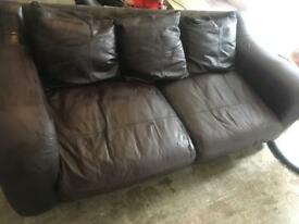 3 seater leather sofa, chair & poof