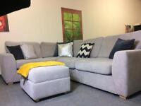 DFS Dove grey corner sofa and footstool in a very good condition
