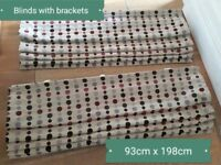 Blinds with brackets and chain. Width 93cm length 198cm. You could shorten them.