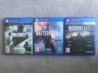 PS4 games battlefield 1 call of duty infinite ware fare resident evil 7 biohazard