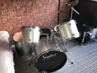 5 Piece Silver Stagebeat Session Pro Drum Kit + Stick Set. Hardly used.