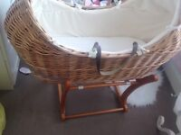 Mothercare snug Moses basket and stand