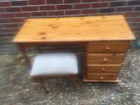 Pine dressing table and stool