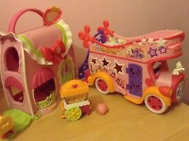 My Little Pony pink fashion house and pink music bus bundle.