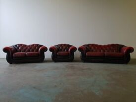 ANTIQUE OXBLOOD LEATHER CHESTERFIELD LOUNGE SUITE OVERSTUFFED 3 SEATER 2 SEATER ARMCHAIR CAN DELIVER
