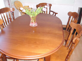 "DINING TABLE AND 6 CHAIRS INCLUDING 2 CARVERS 5' x 3'4"" CARVED DARK OAK"