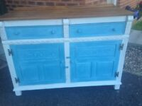 Jaycee sideboard lovely chic sideboard given a upcycle marine blue and pale grey with parisan sides