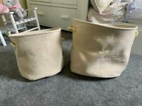 Large and medium gold storage baskets barely used RRP £10 and £8 each