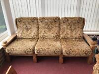 SOLID OAK CHAIR AND 3 SEATER