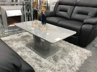 Tunis Grey Glass Coffee Table BRAND NEW