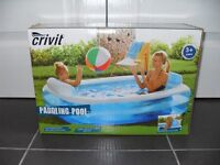 PADDLING POOL 196cm x 145cm x 41/58cm approx (inflated) - UNOPENED