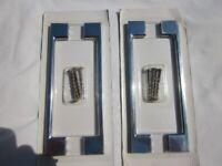 2 x cabinet bar handle polished chrome finish 195mm handle 160mm hole centre