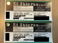 2 X ED SHEERAN TICKETS - Pitch Standing - Glasgow Hampden Park - SUNDAY 3RD JUNE 2018