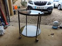 Round Brass Table With Shelves