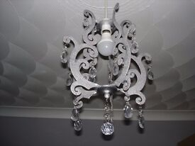 Ceiling shade silver with crystal effect droplets