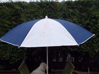 Large blue & white beach parasol sun shade