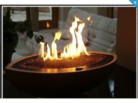 CVO Cast Black Stone Large Oval 12kw Gas Fire Bowl - Natural Gas Pipe