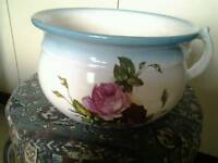 ANTIQUE FLORAL CHAMBER POT