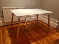 Rectangular Eames-inspired dining table - white with natural wood legs