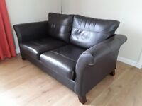 Quality brown leather 2/3 seat sofa