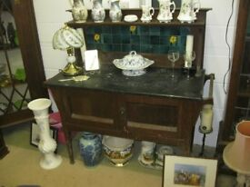 ANTIQUE ORNATE OAK WASHSTAND, TILED SPLASHBACK, MARBLE TOP. VIEWING/DELIVERY AVAILABLE