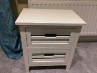 Bedside table, two drawers, good condition, white